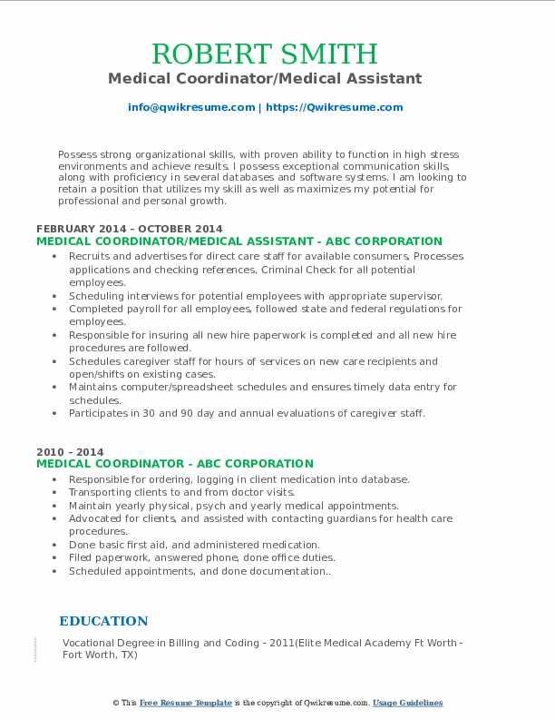 Medical Coordinator/Medical Assistant Resume Model