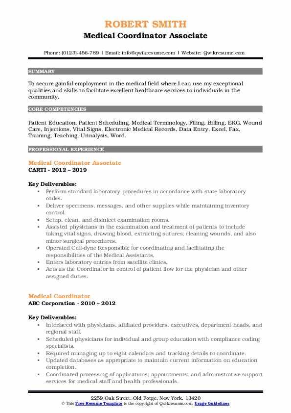 Medical Coordinator Associate Resume Format