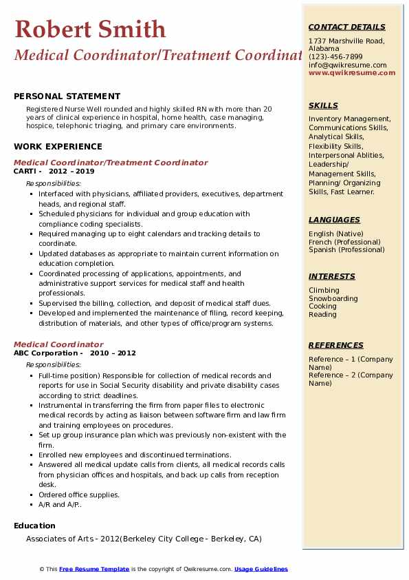 Medical Coordinator/Treatment Coordinator Resume Sample