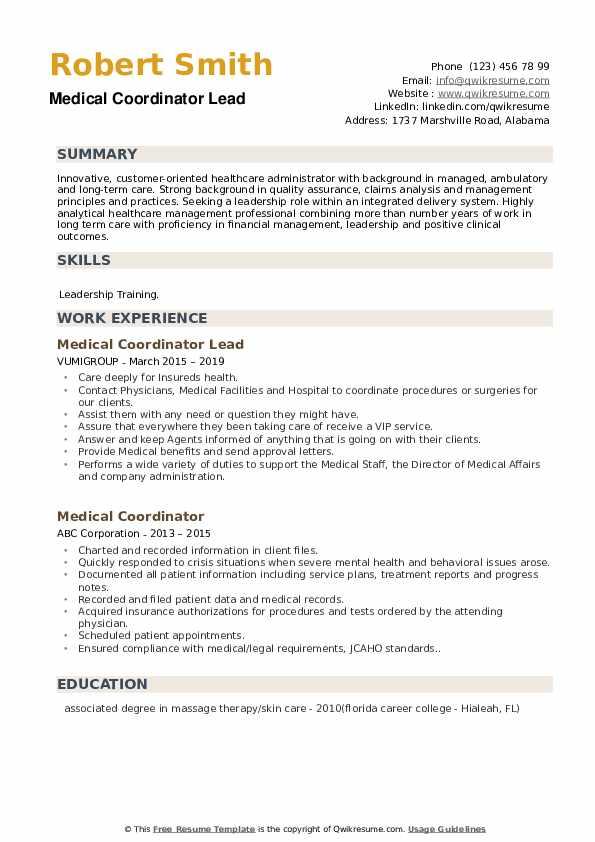 Medical Coordinator Lead Resume Format