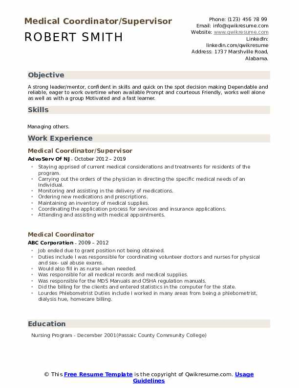 Medical Coordinator/Supervisor Resume Model