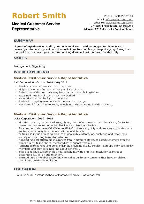 Medical Customer Service Representative Resume example