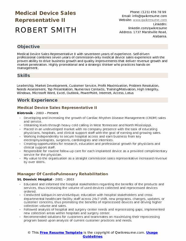 Medical Device Sales Representative II Resume Format