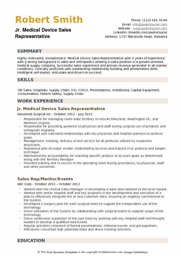 orthopeadic medical sales resume