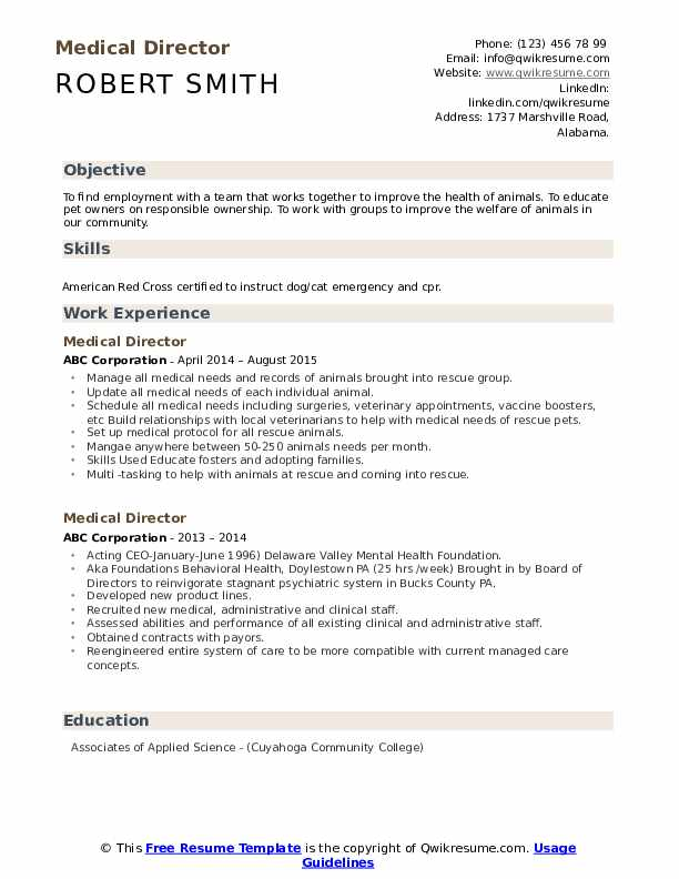Medical Director Resume example