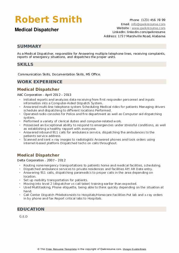 Medical Dispatcher Resume example