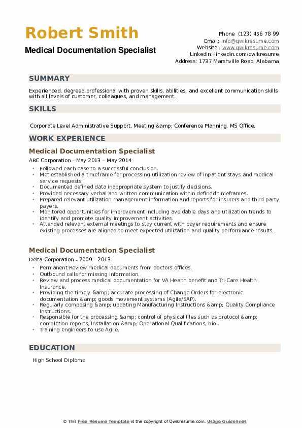 Medical Documentation Specialist Resume example