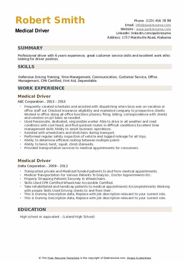 Medical Driver Resume example