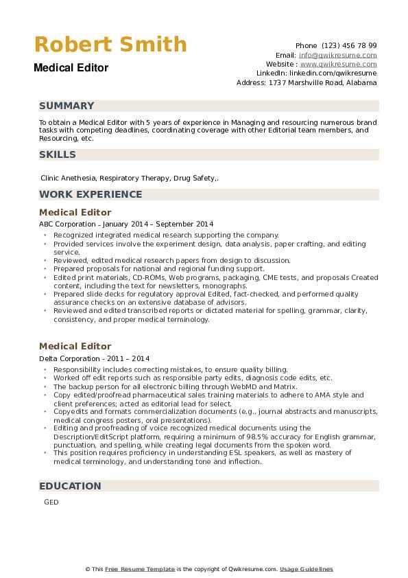 Medical Editor Resume example