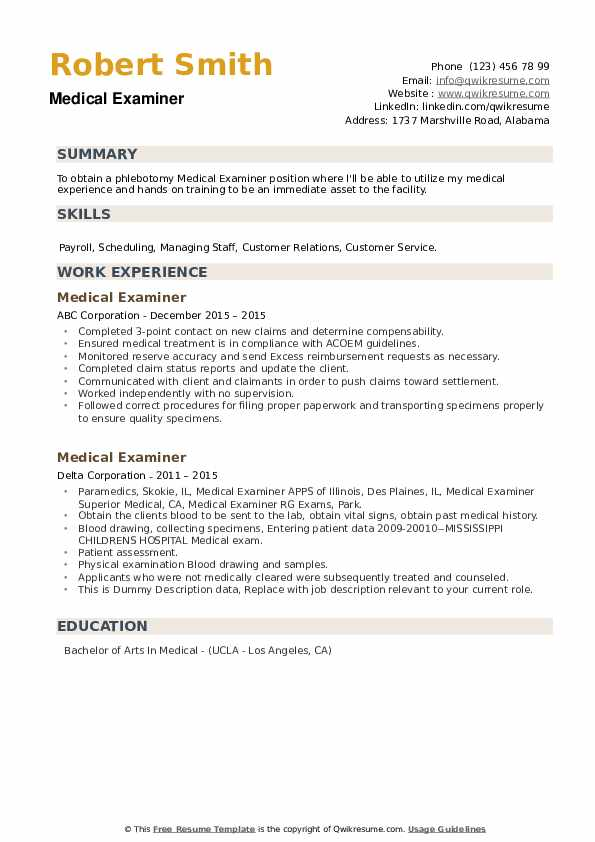 Medical Examiner Resume example