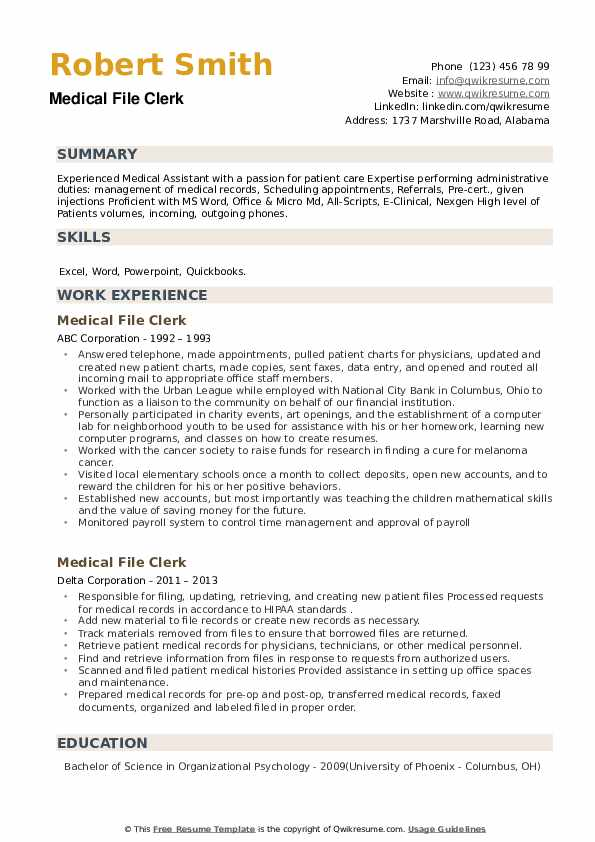 Medical File Clerk Resume example