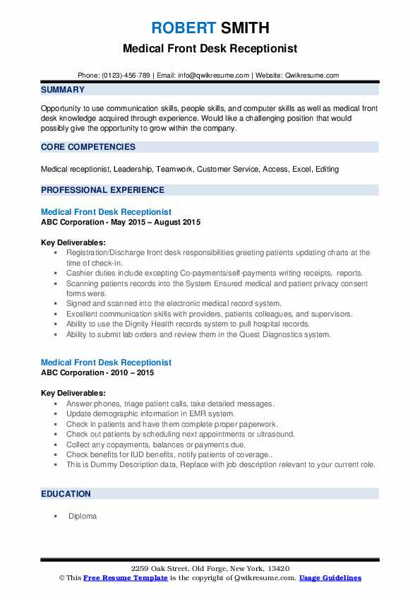 Medical Front Desk Receptionist Resume example