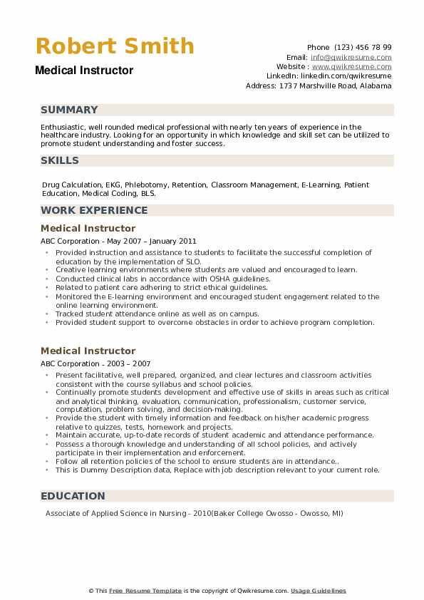 Medical Instructor Resume example