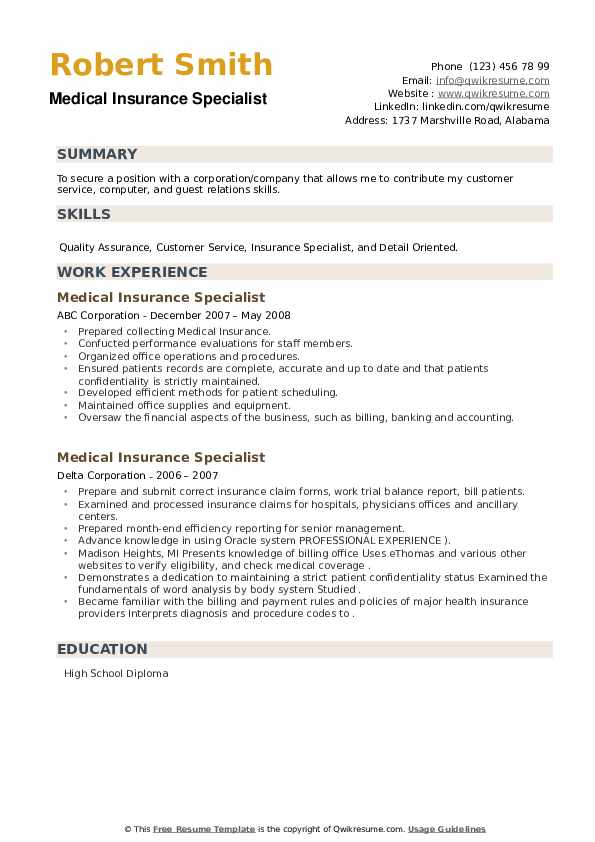 Medical Insurance Specialist Resume example