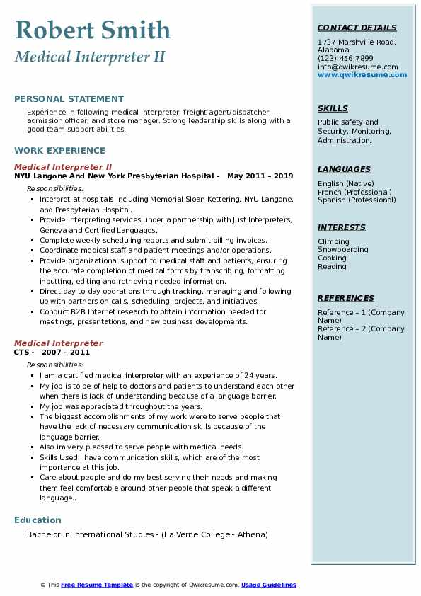 Medical Interpreter Resume Samples Qwikresume