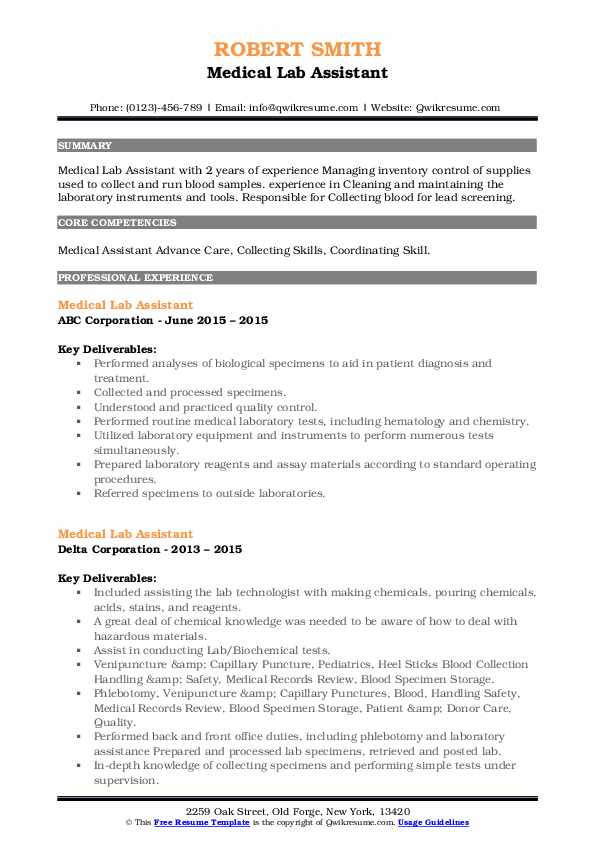 medical lab assistant resume samples  qwikresume
