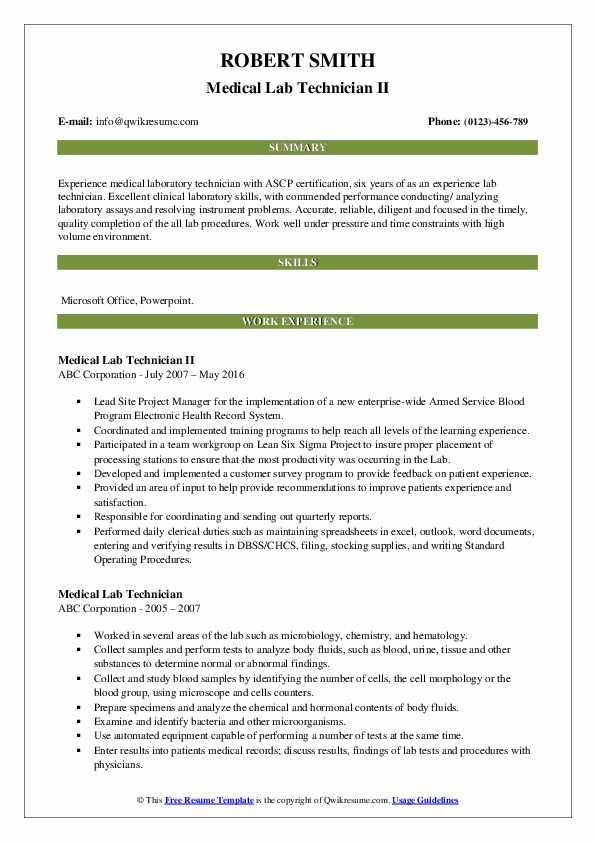 Medical Lab Technician II Resume Example