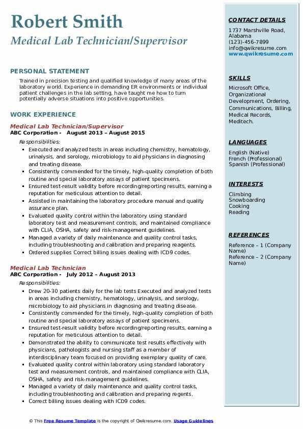 Medical Lab Technician/Supervisor Resume Template