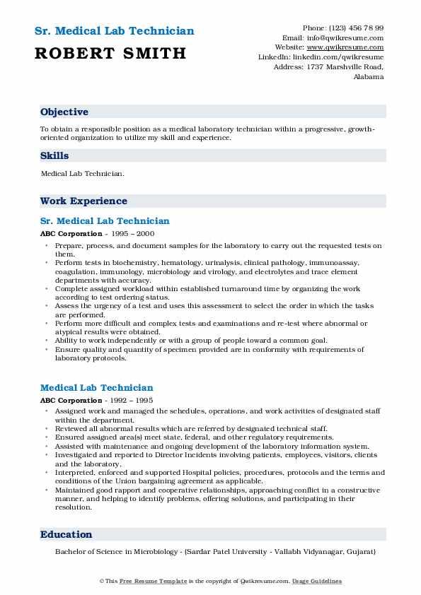 Sr. Medical Lab Technician Resume Template