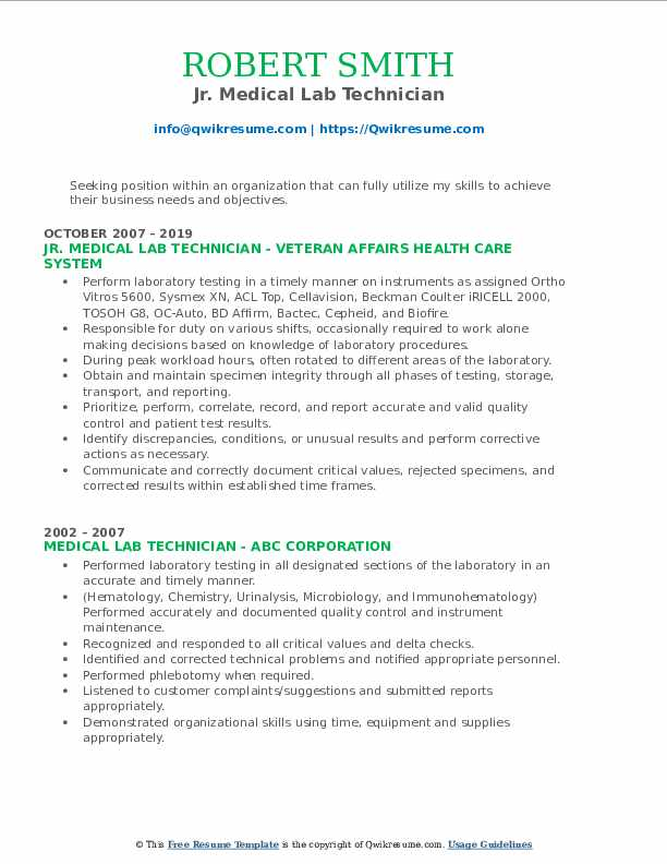 Jr. Medical Lab Technician Resume Sample