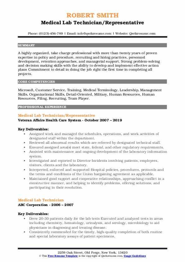 Medical Lab Technician/Representative Resume Template