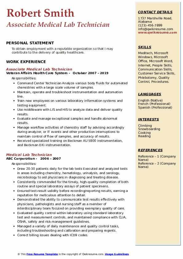 Associate Medical Lab Technician Resume Example