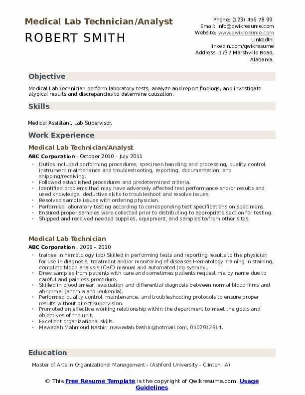 Medical Lab Technician/Analyst Resume Format