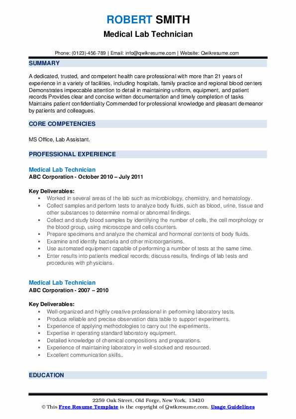 Medical Lab Technician Resume example