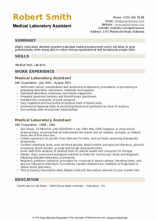 medical laboratory assistant resume samples  qwikresume