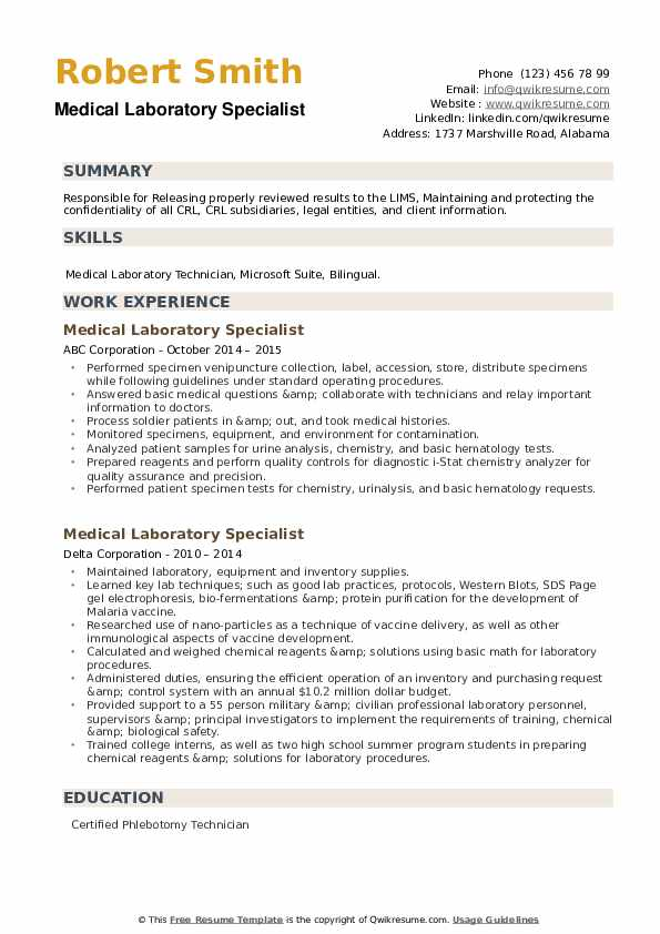Medical Laboratory Specialist Resume example