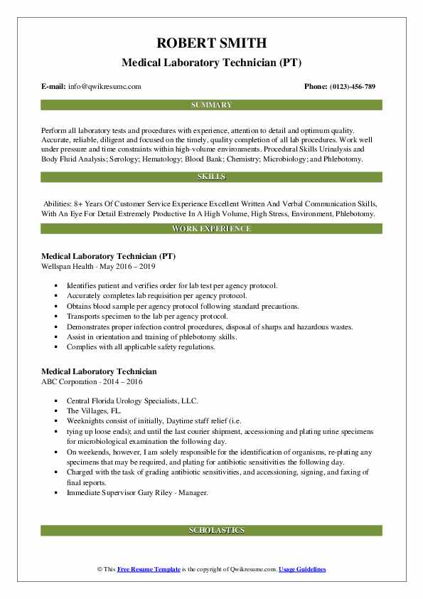 Medical Laboratory Technician (PT) Resume Template