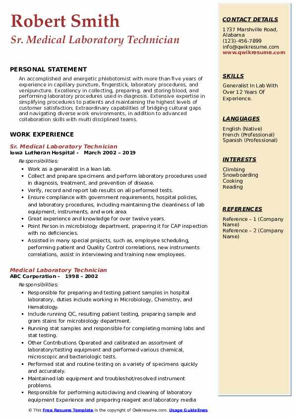 medical laboratory technician resume samples