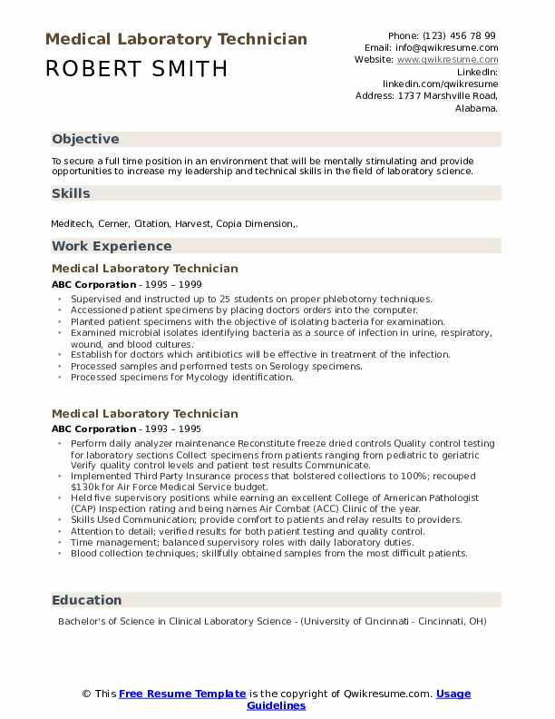 Medical Laboratory Technician Resume example