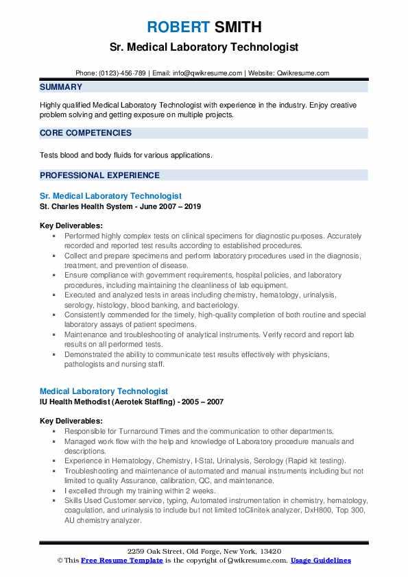 Sr. Medical Laboratory Technologist Resume Model