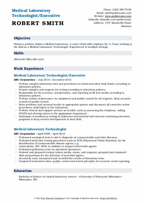 Medical Laboratory Technologist/Executive Resume Sample