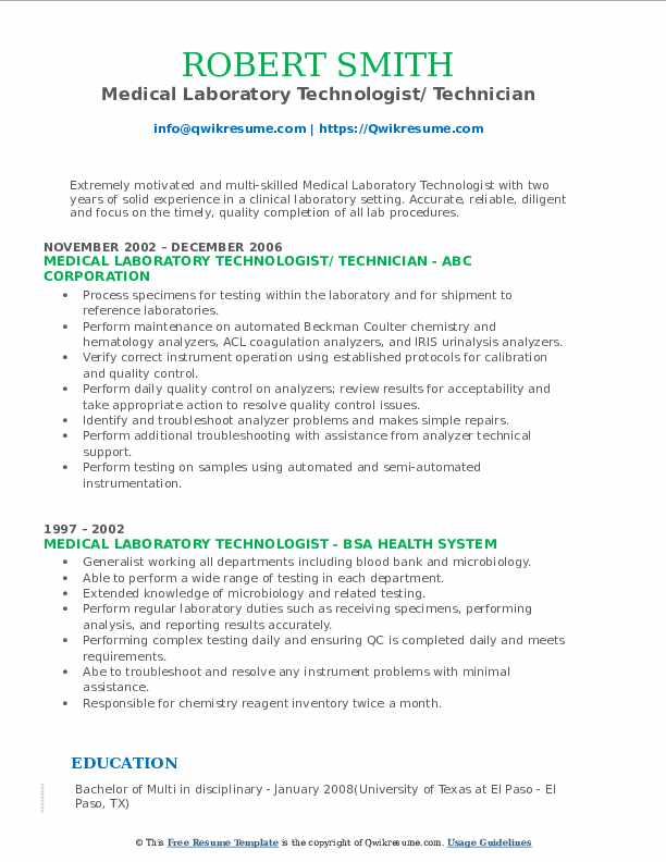 Medical Laboratory Technologist/ Technician Resume Example