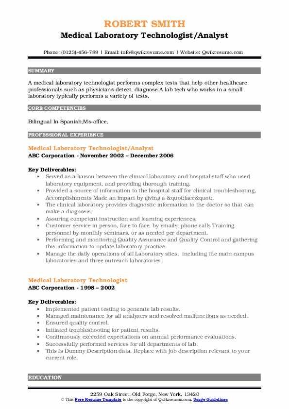 Medical Laboratory Technologist/Analyst Resume Sample