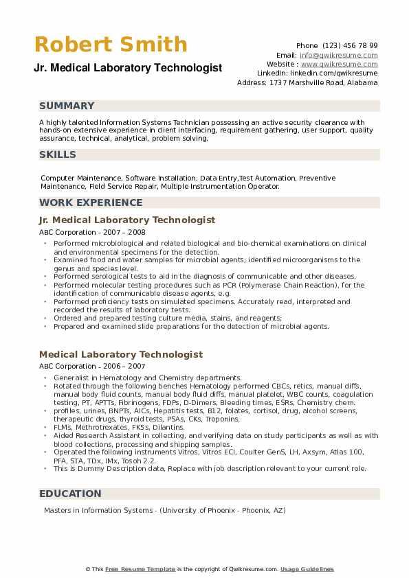 Jr. Medical Laboratory Technologist Resume Sample