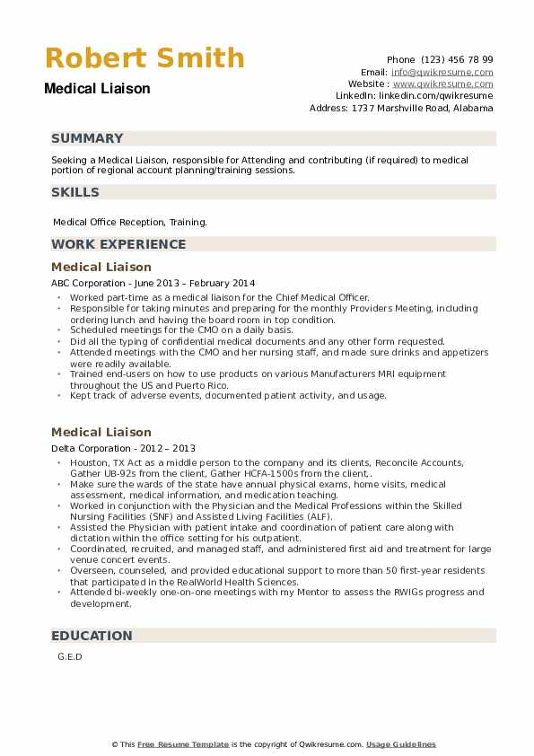 Medical Liaison Resume example