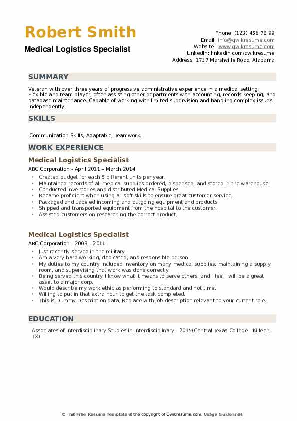 Medical Logistics Specialist Resume example