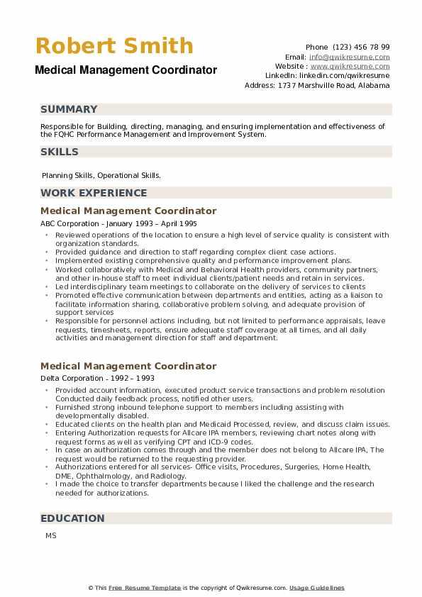 Medical Management Coordinator Resume example