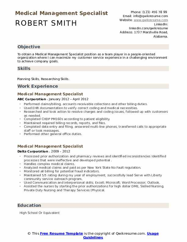 Medical Management Specialist Resume example