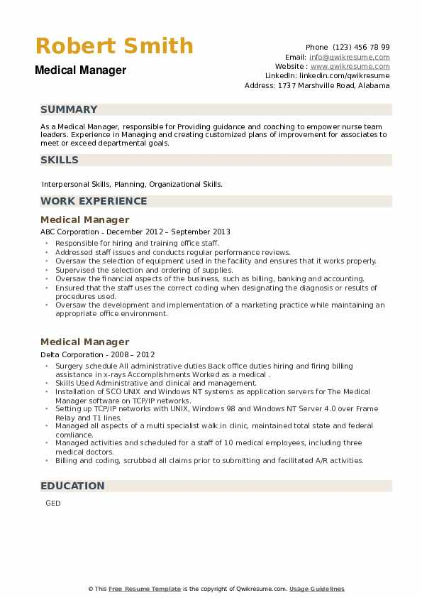 Medical Manager Resume example