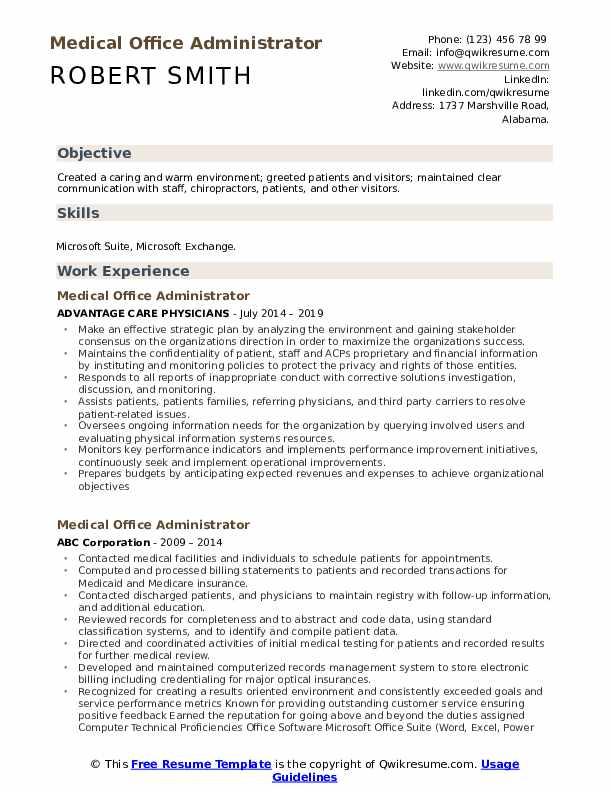 Medical Office Administrator Resume Model