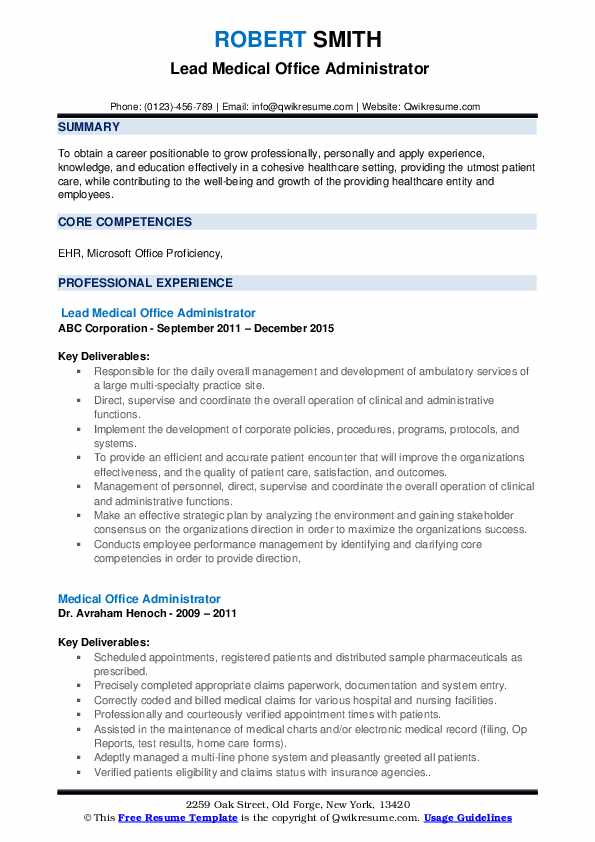 Lead Medical Office Administrator Resume Sample