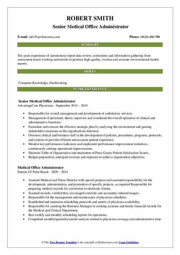 Senior Medical Office Administrator Resume Template