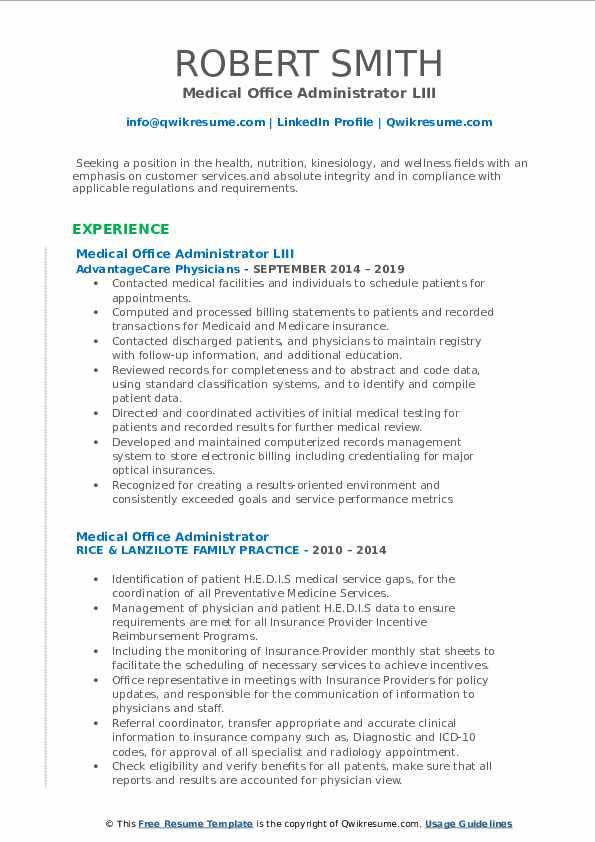 Medical Office Administrator LIII Resume Model