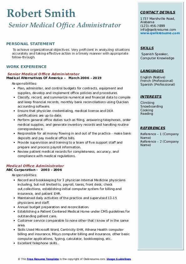 Senior Medical Office Administrator Resume Sample