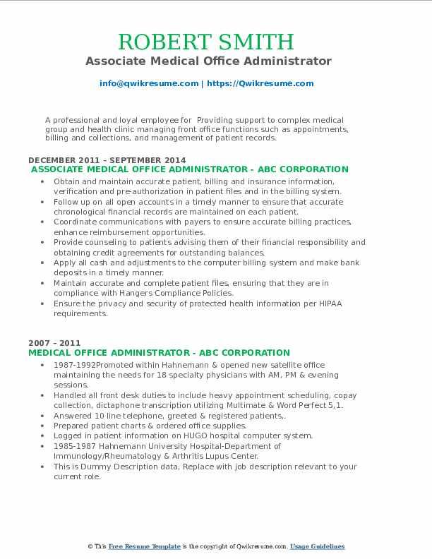 Associate Medical Office Administrator Resume Format