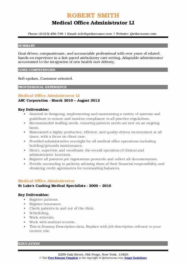 Medical Office Administrator LI Resume Example